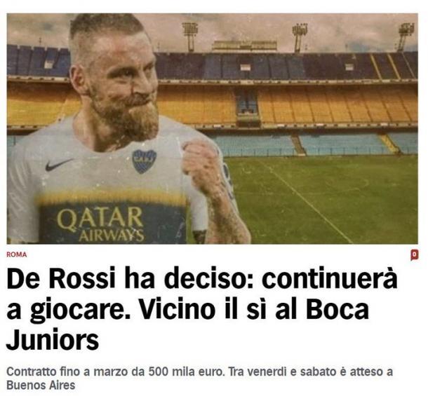 Así confirmaban desde Italia la llegada de De Rossi