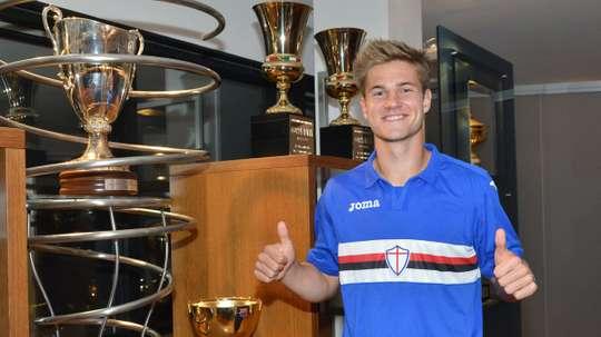 Andersen en su presentación como jugador de la Sampdoria   Foto:Sampdoria