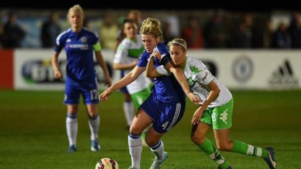 An out-of-season Chelsea fell to an in-season VfL Wolfsburg in the knockout stages of last season's UEFA Women's Champions League. (Photo: Chelsea LFC)