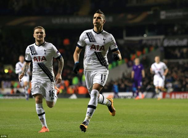 Lamela celebrates his goal (photo: PA)