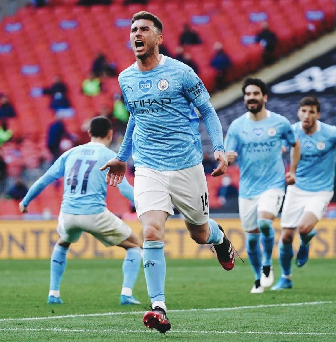 Laporte celebrando el tanto de la victoria / Foto: Manchester City