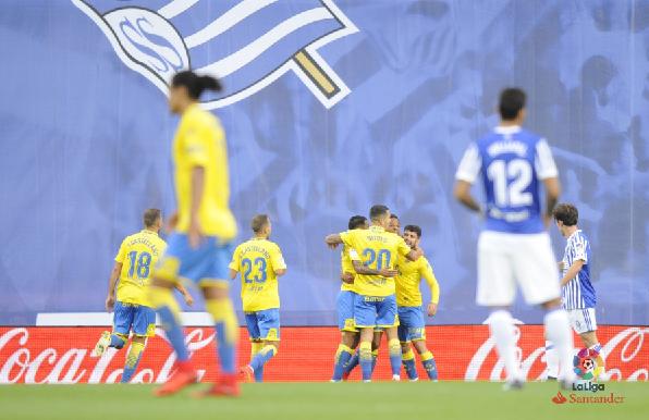 Las Palmas consiguió un empate en Anoeta. | Foto: La Liga