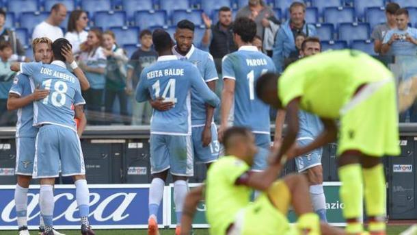 La gioia della Lazio dopo il gol del pari all'andata - Foto Gazzetta dello Sport