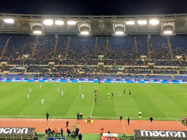Il calcio d'inizio di Lazio-Napoli | fonte: OfficialSSLazio