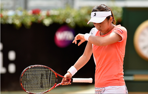 Misaki Doi putting up a good fight in the second set l Dennis Grombkowski Photo: Getty Images