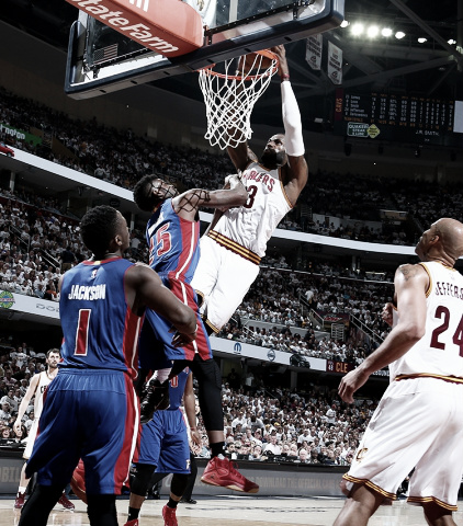 LeBron James goes up for a monstrous dunk against the Pistons in game two. (Nathaniel S. Butler/NBAE/Getty Images)