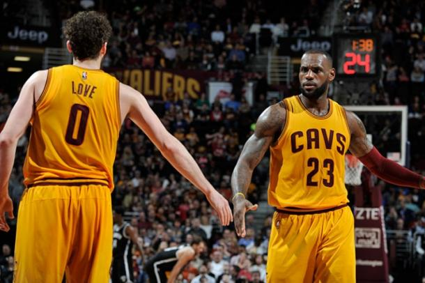 LeBron James and Kevin Love were huge for the Cavaliers in a dominant victory. (David Liam Kyle/NBAE/Getty Images)
