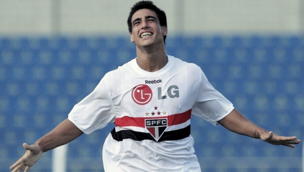 Lucas Gaúcho comemorando um de seus nove gols na Copinha (Foto: Divulgação/VIPCOMM)