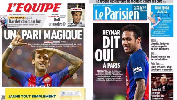 En la imagen,la portada hoy en diferentes medios de comunicación franceses, en la cual aparece Neymar