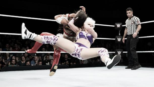 LeRae advances. Photo-WWE.com