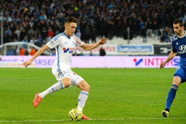 Ocampos in action against Lyon | Photo: foot01.com