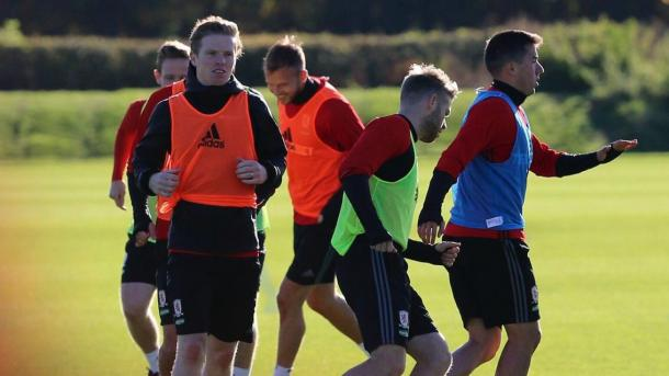 Grant Leadbitter trains with Middlesbrough's first team for the first time this season | Photo: MFC.co.uk
