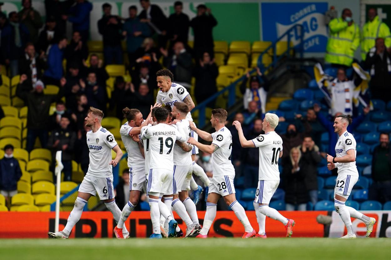 Leeds celebrando su victoria ante el West Bromwich / Foto: Premier League