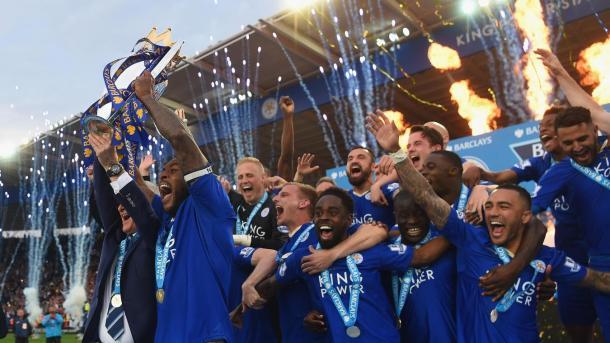 Los jugadores del Leicester celebran el título | Fotografía: Premier League