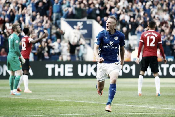 Vardy festeja uno de los goles de aquel partido | Foto: Premier League