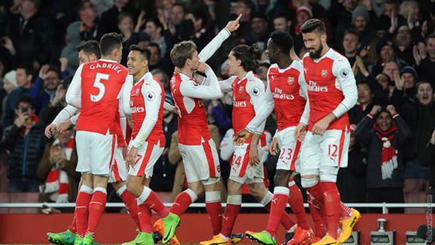 Los jugadores del Arsenal celebran el gol ante el Leicester City   Fotografía: Arsenal