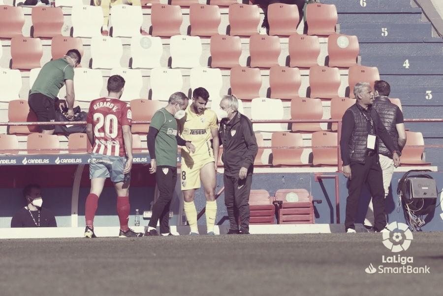 Luis Muñoz en el momento de su lesión. / Foto: LaLiga.