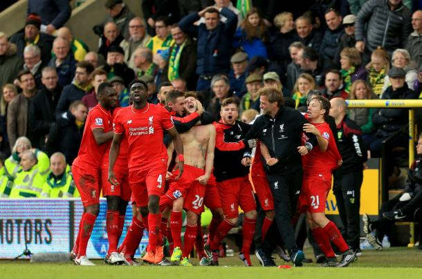 Lallana's last-gasp Norwich winner was the best moment of his Liverpool career thus far. (Picture: Getty Images)