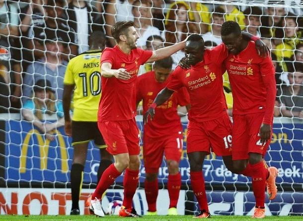 Liverpool players celebrate a goal on Tuesday (photo: Getty)
