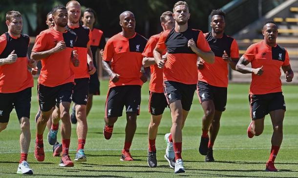 Other England players, such as Henderson, Clyne and Sturridge (all furthest to the right) are back in training - Photo: Getty