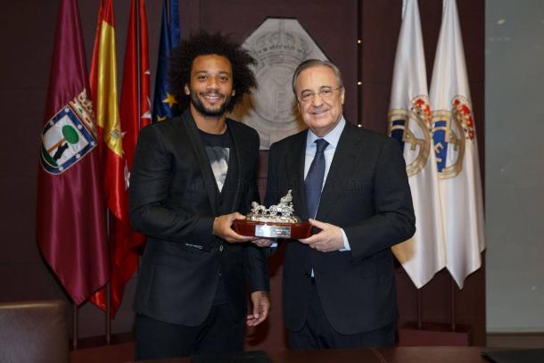 Marcelo e Florentino Pérez | Foto: Divulgação/Real Madrid CF