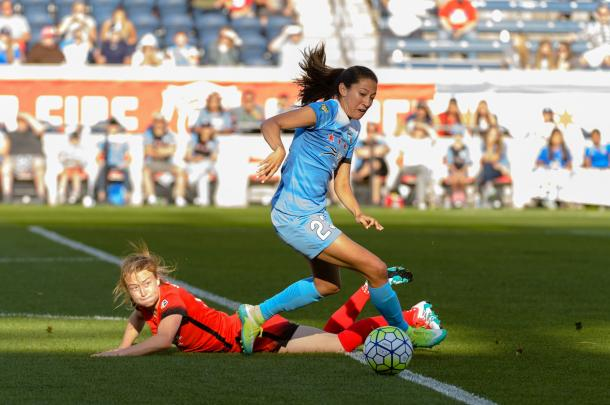 Christen Press will hope to continue her strong scoring record against the Portland Thorns in the tournament opener. Source: OurSports Central