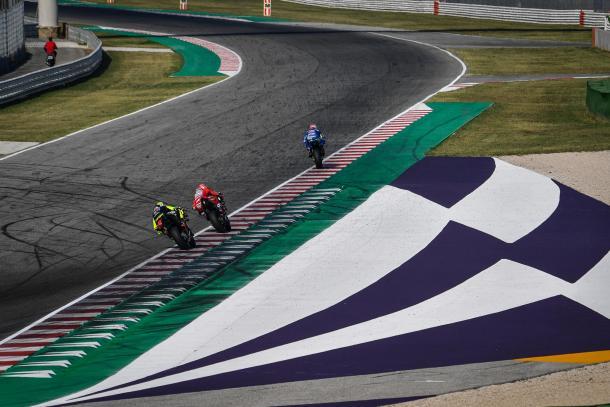 Rossi, Dovizioso y Rins en el test que se celebró hace unas semanas en Misano. Imagen: MotoGP