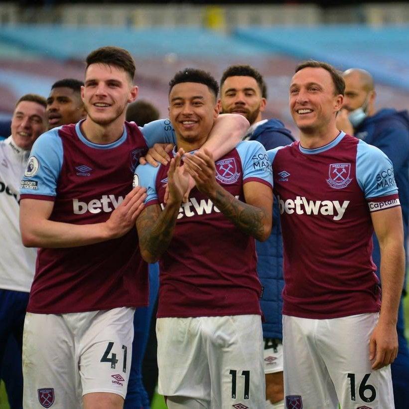 Lingard, Noble y Rice después de un partido / Foto: West Ham United