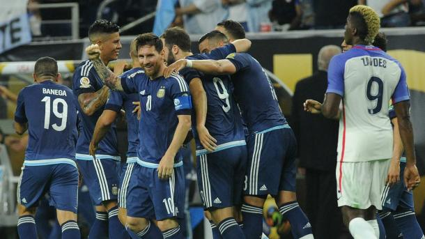 Argentina was in cruise control on Tuesday against the United States in their 4-0 semifinal victory. Photo provided by Getty Images.