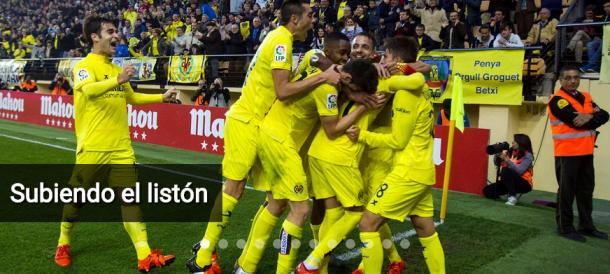 Jugadores del Villarreal CF celebrando un gol en la temporada 2015-16. Fuente: villarrealcf.es