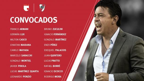 Los convocados por el Muñeco Gallardo para jugar ante Santa Fé. Foto: River Oficial.