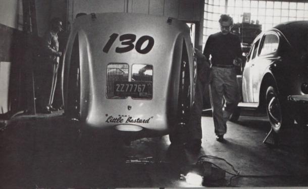 James Dean y su Porsche 550 Spyder (Imagen: Selvedgeyard.com)