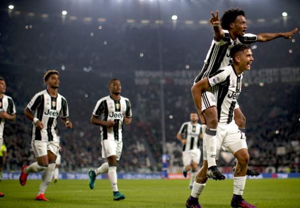 Dybala e Cuadrado esultano per un gol nell'ultima gara, contro l'Udinese.