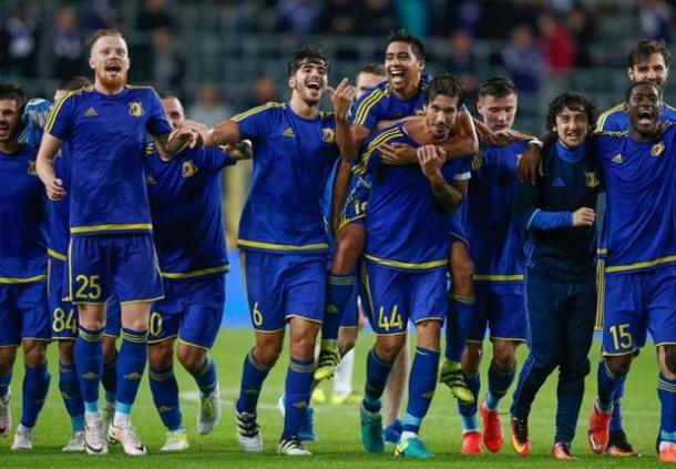 L'esultanza dei russi dopo il passaggio del turno preliminare di Champions contro l'Ajax.   Google.