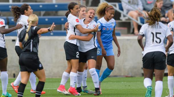 Sky Blue FC celebrate their early opener. Source: NWSL