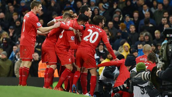 Liverpool celebrate a goal against City in November (photo: getty)