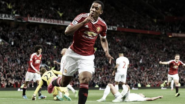 Martial scored on his debut against rivals Liverpool (Photo source: SkySports)