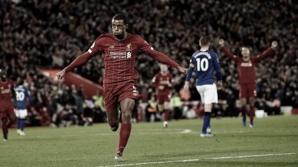 Wijnaldum se anotó en el triunfo 5-2 ante Everton   Foto: Premier League