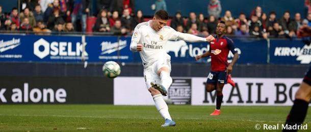 Jovic marca ante el Osasuna la campaña pasada. Fuente: Real Madrid