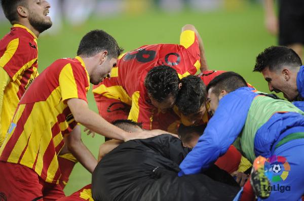 Los jugadores del Lleida celebrando el gol de la clasificación.   Foto: La Liga