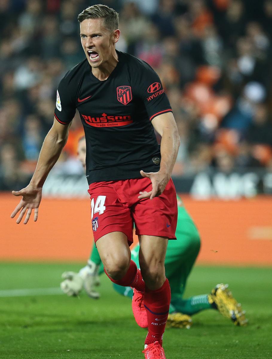Marcos Llorente celebrando su primer gol con la camiseta del Atleti, el 14 de febrero de 2020 en Mestalla. / Fuente: Atlético de Madrid