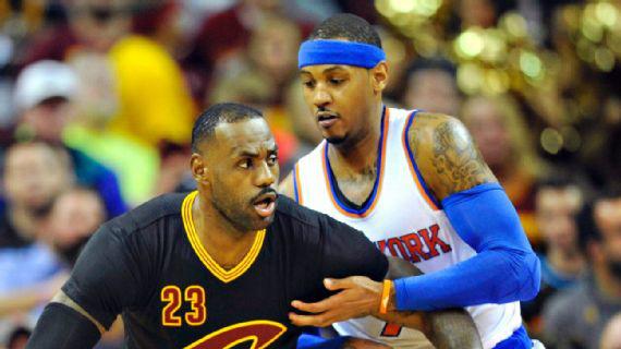 LeBron James e Carmelo Anthony. Photo by David Richard/USA TODAY Sports