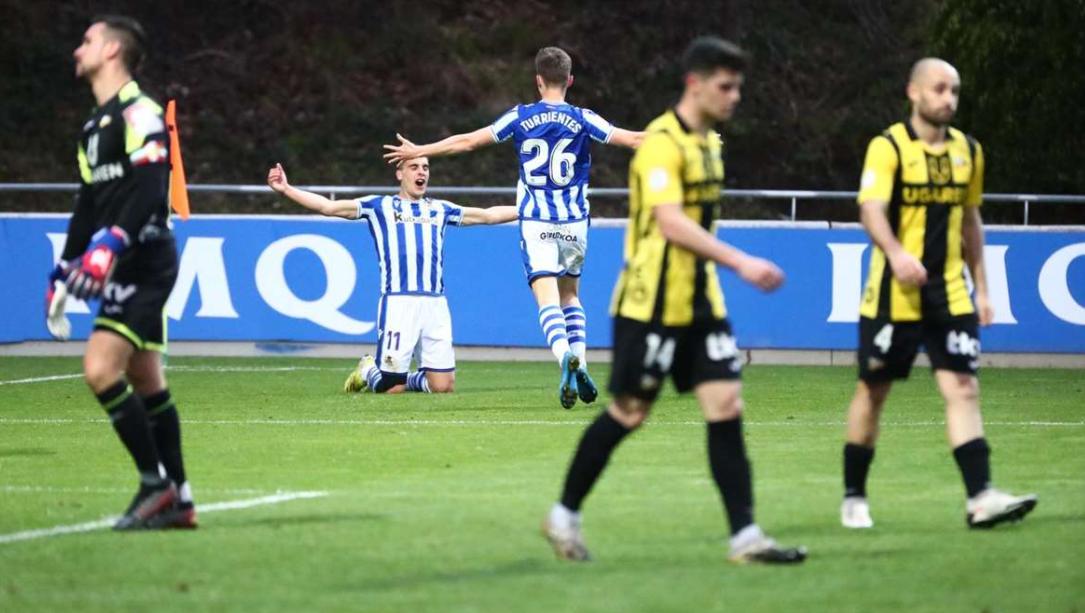 Lobete celebra el gol frente al Portugalete // Foto: Real Sociedad