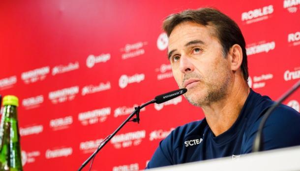 Lopetegui en rueda de prensa | Foto: Sevilla FC