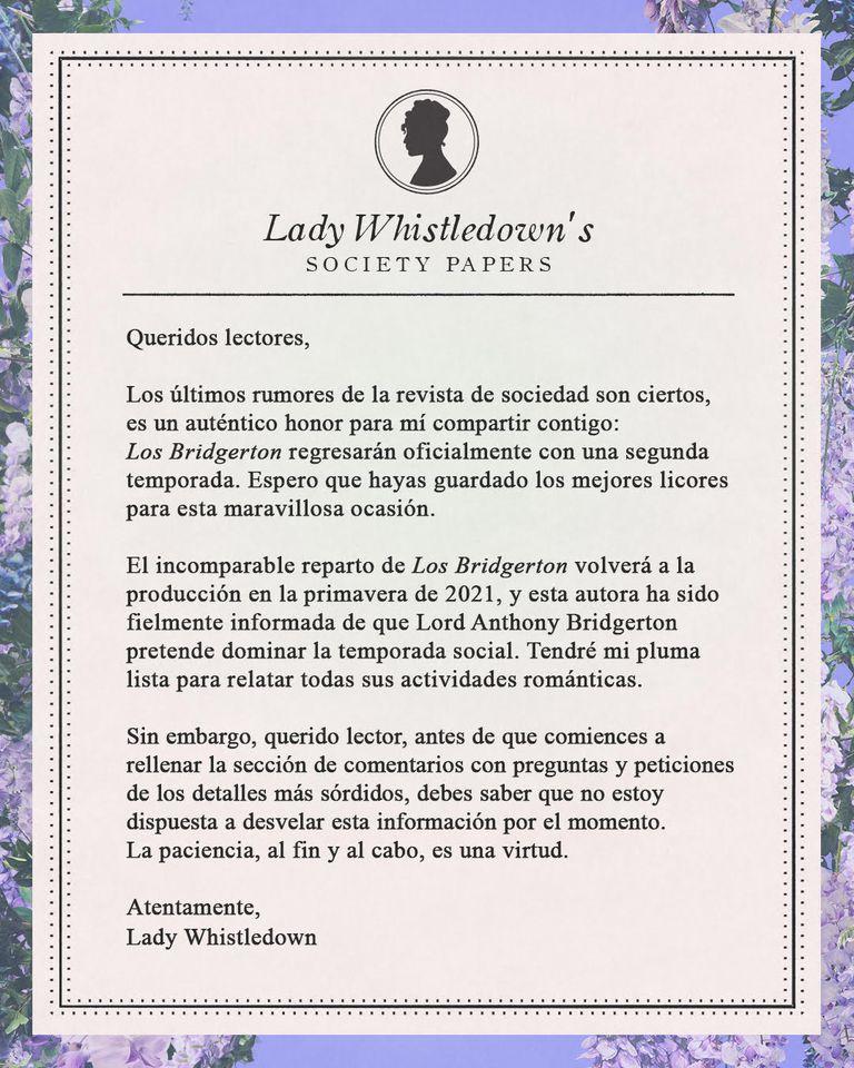 Comunicado de Lady Whistledown | Foto: Cuenta de Instagram oficial de Netflix (@netflixes)