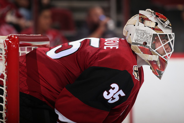 Louis Domingue made 39 saves enroute to a big win against San Jose. (Source: Getty Images)