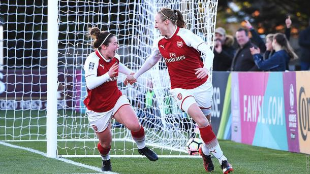 Louise Quinn celebrates her stoppage time winner against Everton | Source: arsenal.com