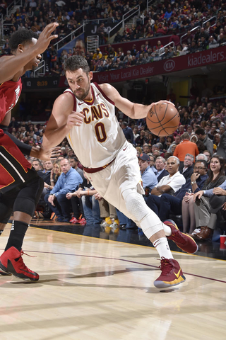 Kevin Love had a game high 38 points in the impressive victory. Photo: David Liam Kyle/NBAE/Getty Images.