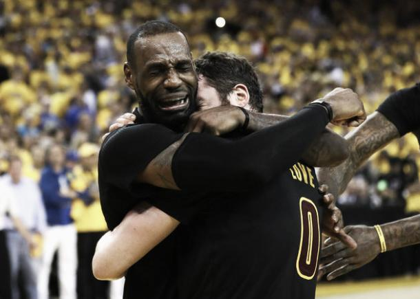 Kevin Love celebrates championship win with LeBron James. Photo: Ezra Shaw/Getty Images