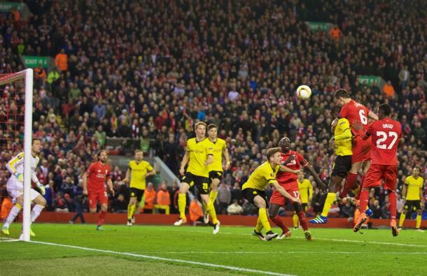 Dejan Lovren heads in against Dortmund (photo: Reuters)